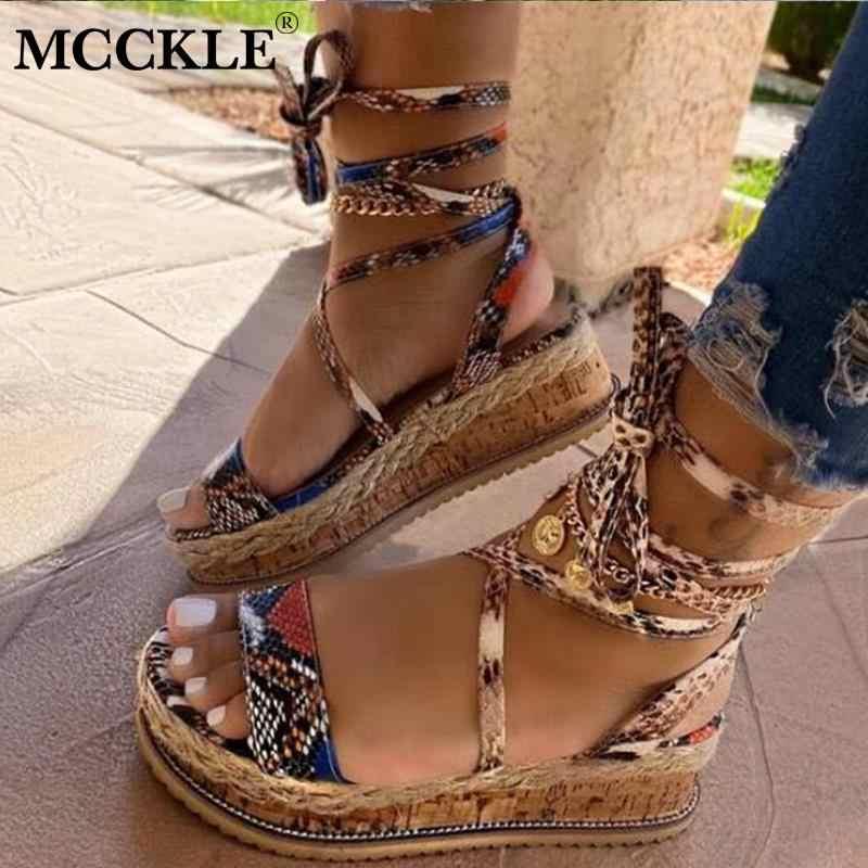 MCCKLE/женские босоножки; Женская обувь на платформе с открытым носком и ремешком на щиколотке; Женские модные повседневные сандалии; Женская обувь; Сезон лето; Новинка 2020 года