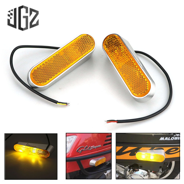 Motorcycle LED Side Yellow Turn Signal Lights CNC Indicator Left Right Lamp Scooter For VESPA GTS 300 SPRINT 150 PRIMAVERA 150