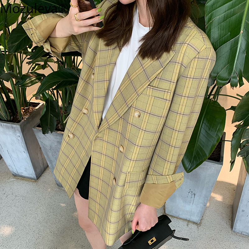 Mozuleva Office Ladies Plaid Women Blazer Double Breasted Blazer Jacket Femme 2020 Spring Vintage Loose Female Suits Jacket
