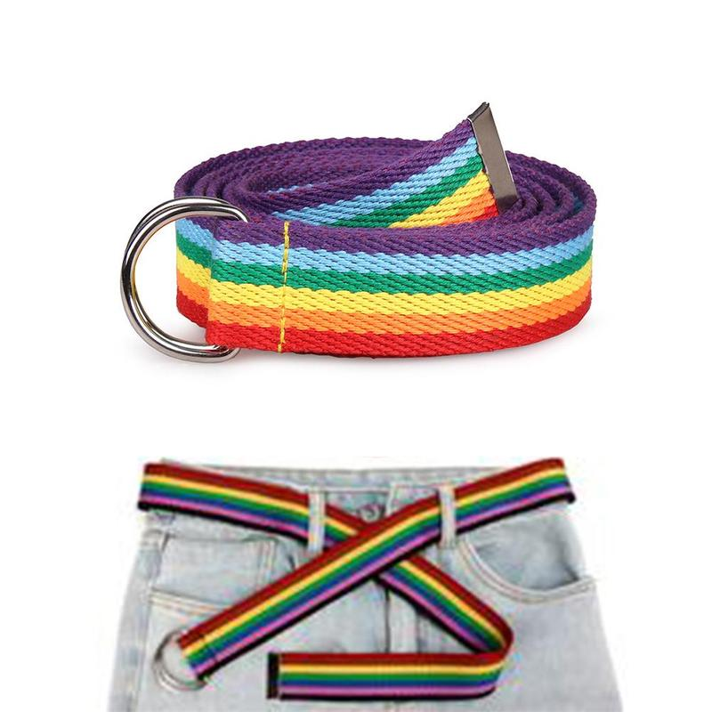 Fashion Casual Rainbow Color Women's Belt Double Ring D-Buck Rainbow Ribbon Canvas Thin Tight Belt  Accessories Decorative Blet