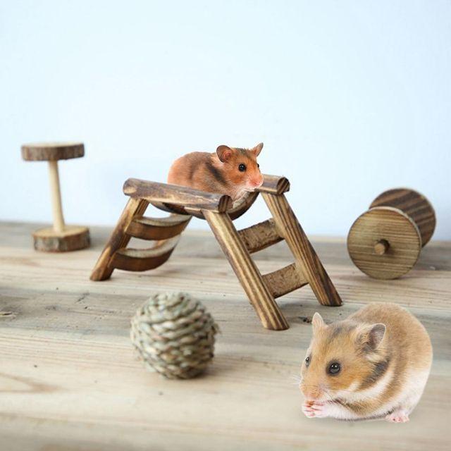 Parrot Mouse Hamster Swing Climbing Ladder Gerbil Bird 6 Sticks E.Tang Hamster Climbing Ladder Squirrel Wooden Suspension Bridge for Dwarf Hamster