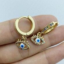 Fashion Gold Color Blue Evil Eye Hoop Earrings Top Quality AAA Zircon Eye Earrings for Women Korean Fashion Jewelry 2021