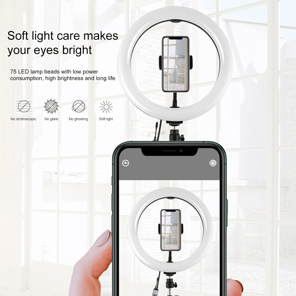 cheapest 16 26cm Dimmable Photography Selfie Stick Ring Light LED Makeup Ring Lamp Phone Holder USB plug for Live Stream Youtube Video