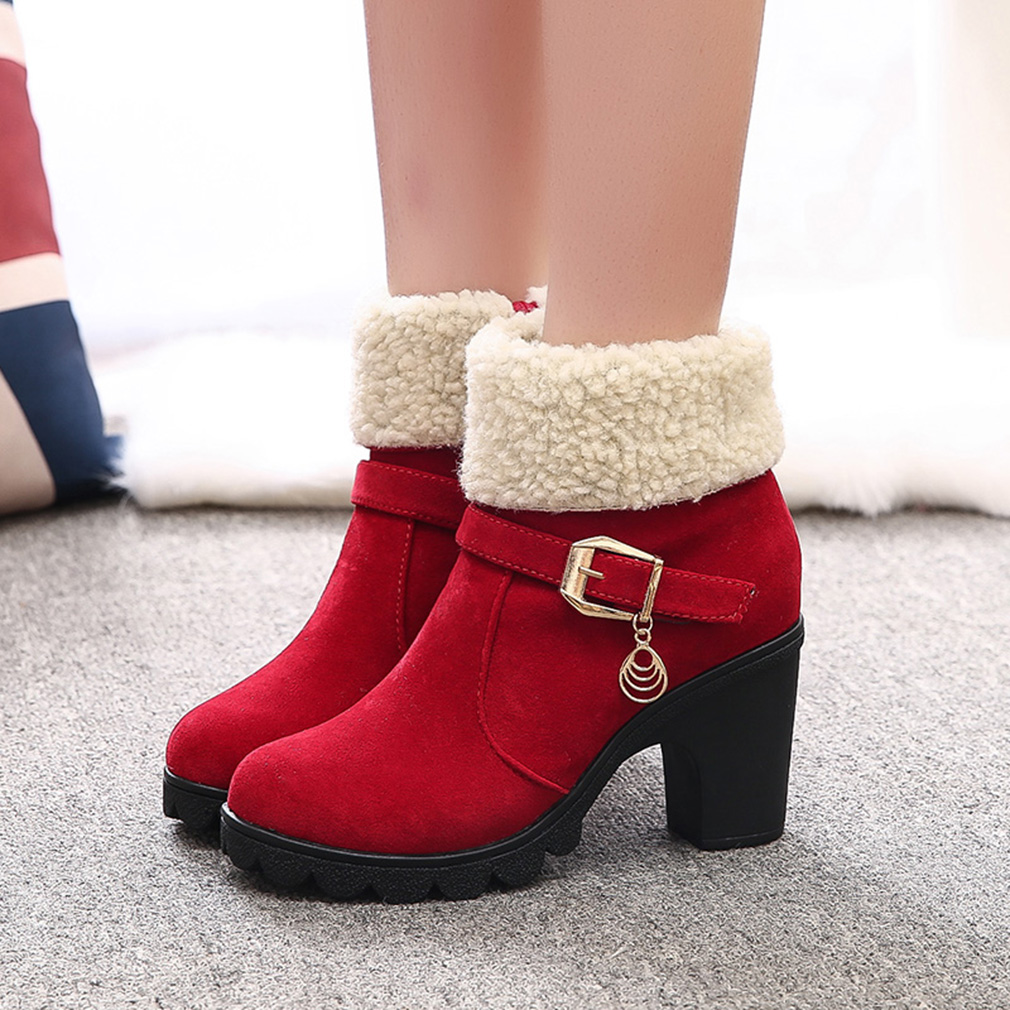 Fashion Brand Ankle Snow Boots Winter High Heel Boots Platform Warm Plush Square Heels Winter Shoes Women's Boots Ladies