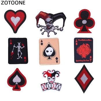 ZOTOONE naklejki do haftu naszywki do gry karty do gry naszywki na żelazko na ramię odznaka do dżinsów odzież kapelusz dodatki do odzieży G tanie i dobre opinie As Picture Iron-on Haftowane HANDMADE Ekologiczne Skull Out Astronaut Space Evil Eye Military Dog Cat Unicorn Skull Patch Unicorn Patch Butt Patch