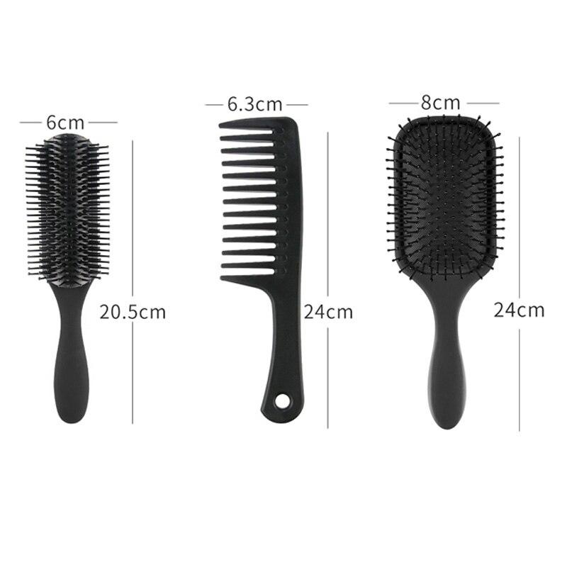 3 pçs pá escova de cabelo, desembaraçar