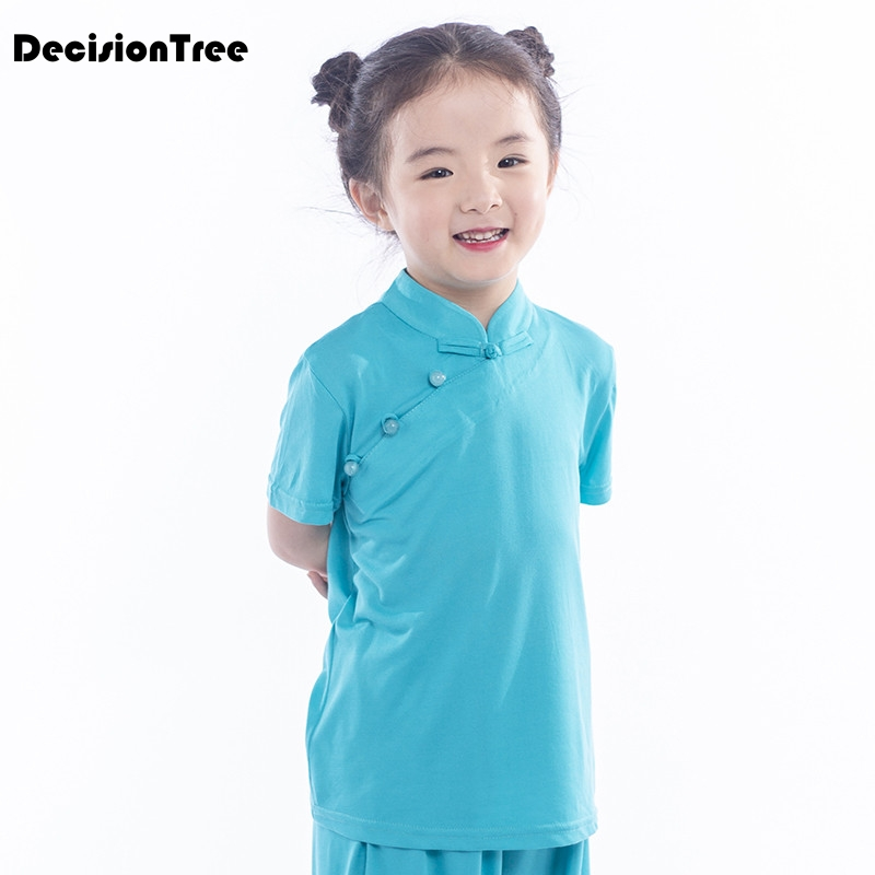 2019 Child Wushu Kids Chinese Outfits For Kids Tai Chi Kung Fu Uniform Kids Girls Boys Stage Performance Costume Set Tang Suit