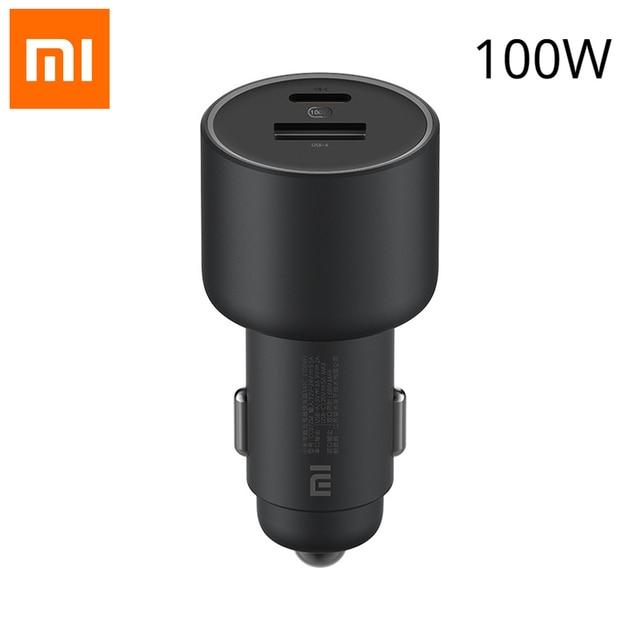 NOUVEAU Xiaomi Mi Voiture Chargeur Rapide De Charge Version 1A1C 100W USB C 100W MAX Charge Rapide/USB A, USB C À deux ports De Sortie