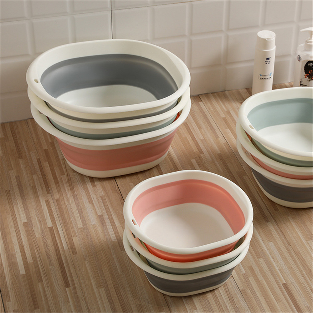 Household Folding Washbasin Portable Travel Silicone Plastic Bucket Container Fruit Basin Outdoor Student Dormitory Camp Basin