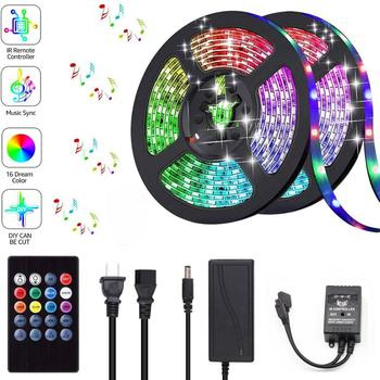 DC 12V 5050 RGB LED Strip Sync To Music 1M 2M 5M 10M Flexible LED Tape Ribbon Ruben Lamp Light For Christmas Party Home Decor 1m smd 5050 rgb 60 led strip light dc 12v for christmas holiday