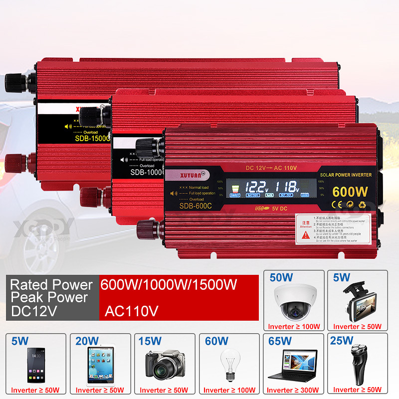 Xuyuan <font><b>1500w</b></font> <font><b>Inverter</b></font> Car Power Converter Inversor 12 V 110 V for Car Household Diy <font><b>1500w</b></font> 1000w 600w Power <font><b>Inverter</b></font> Us Adapter image