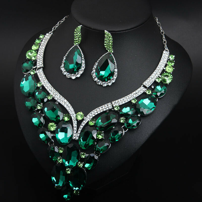 Image 3 - Luxury Crystal Jewelry Set Statement Necklace Earring Bridal Wedding Jewellery Fashion Women Rhinestone Statement Choker IndianJewelry Sets   -
