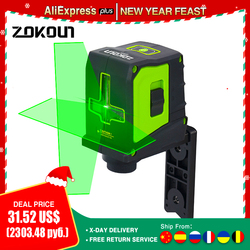 ZOKOUN 2 Lines Green Beam Laser Level Vertical Horizontal Cross-Line Self Levelling Laser Leveler With Magnetic Wall Bracket