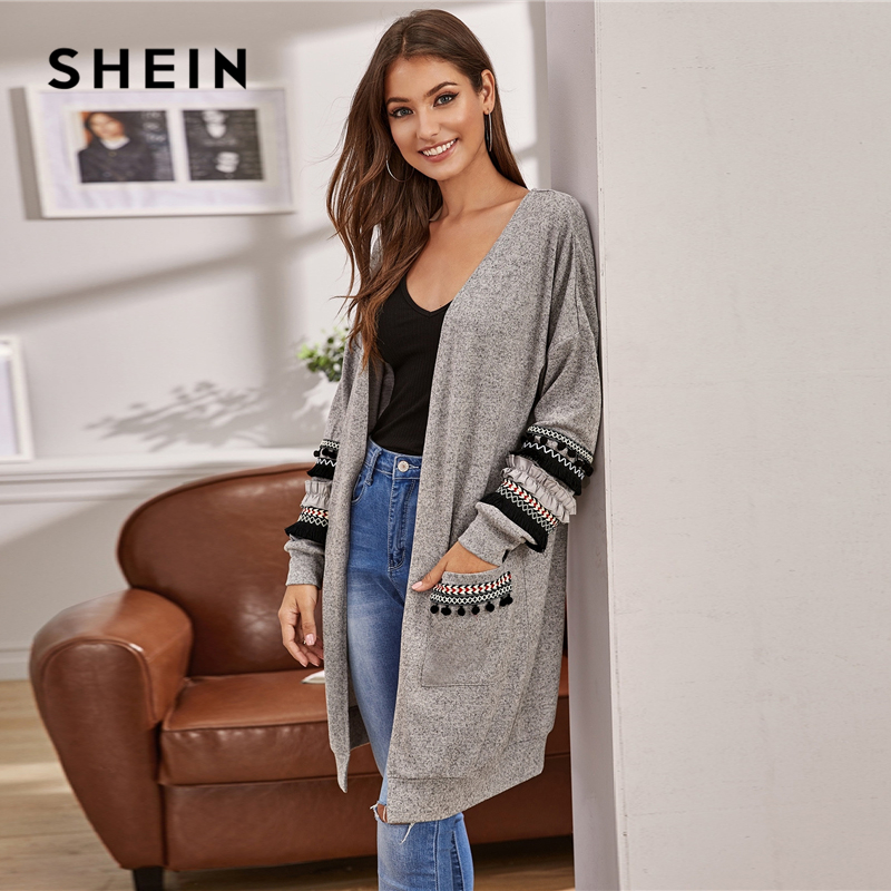 SHEIN Grey Tribal Tape Detail Pocket Front Cardigan Women Autumn Embroidery Fringe Casual Long Outerwear Cardigans 2