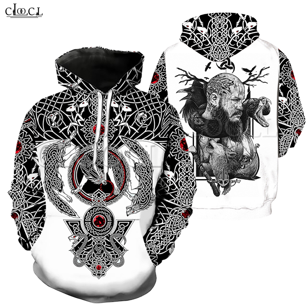 Fashion Men Hoodies Viking Tattoo 3D All Over Printed Unisex Hoodie Streetwear Casual Hoody Sweatshirt For Couple Tops Drop Ship