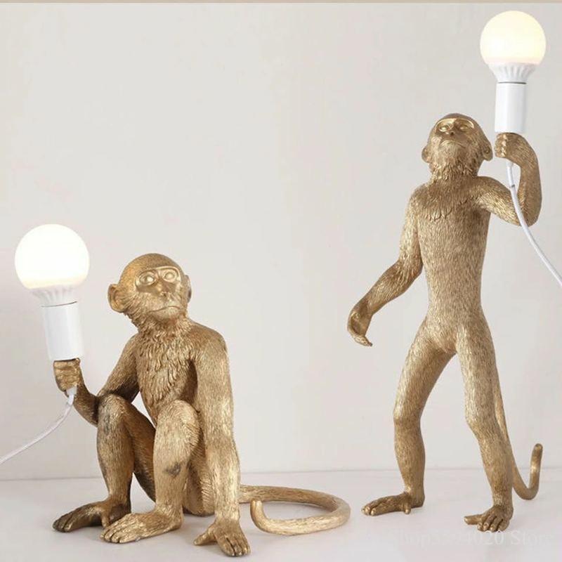 Hemp Rope Resin Monkey Lamp Seletti Monkey Lamp Modern Fixture Home Decor Monkey Lamp Rope Black/White Monkey Pendant Lights