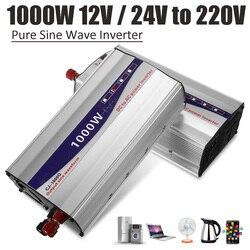 1 Juego de pantalla LED negra 1000W inversor de potencia de onda sinusoidal pura 12V/ 24V/ 48V a 220V convertidor fuente de alimentación del transformador