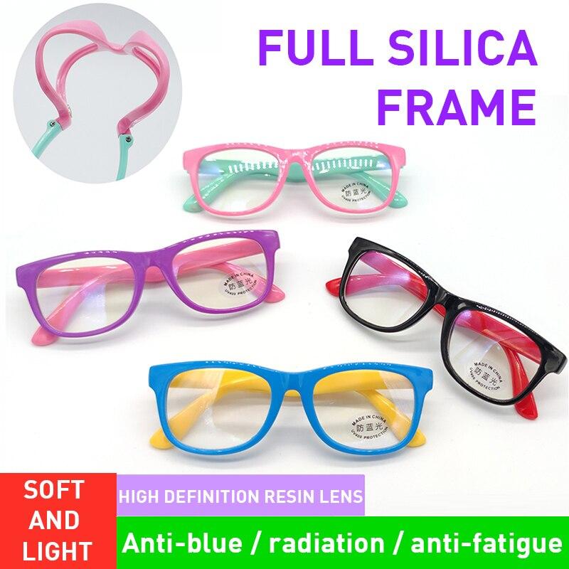 Очки детские с защитой от сисветильник, квадратные оптические аксессуары для компьютера, для мальчиков и девочек, светоотражающие блокиров...