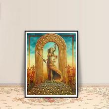 Affiche d'art Tarot de Justice imprimée, Art Nouveau, déco gitane, mythologie païenne, psychédélique, déesse bohème