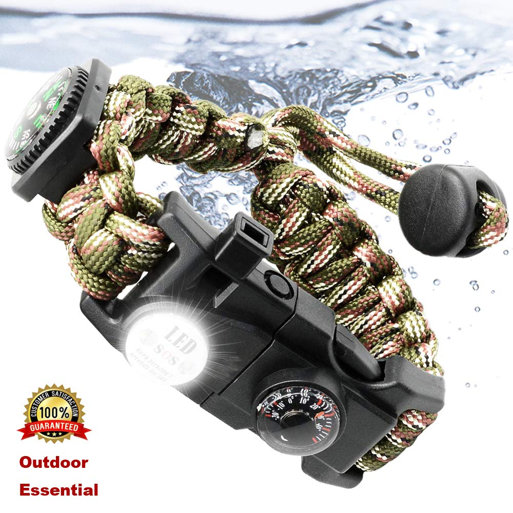 Outdoor Paracord Survival Bracelet With Waterproof SOS LED Light Compass Whistle Tactical Survival Gear Set Adjustable Paracord
