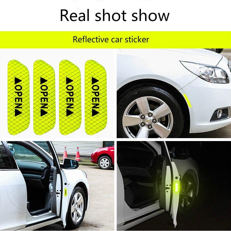 4 шт./компл. двери автомобиля стикеры сделай сам автомобиль открыть светоотрающей полосой Предупреждение отражающая открытая уведомления велосипедные аксессуары для экстерьера