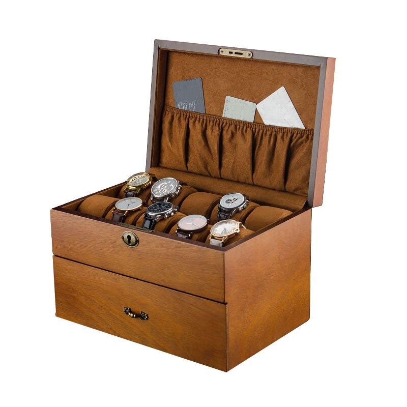 2 couches montre boîtes de rangement boîtier bois montres organisateur avec serrure montre pour hommes affichage coffrets cadeaux porte-bijoux