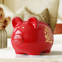 Ceramics Chinese Red Net Pig Money box Gift for children Cute piggy bank pig figure Money coins saving box storage box