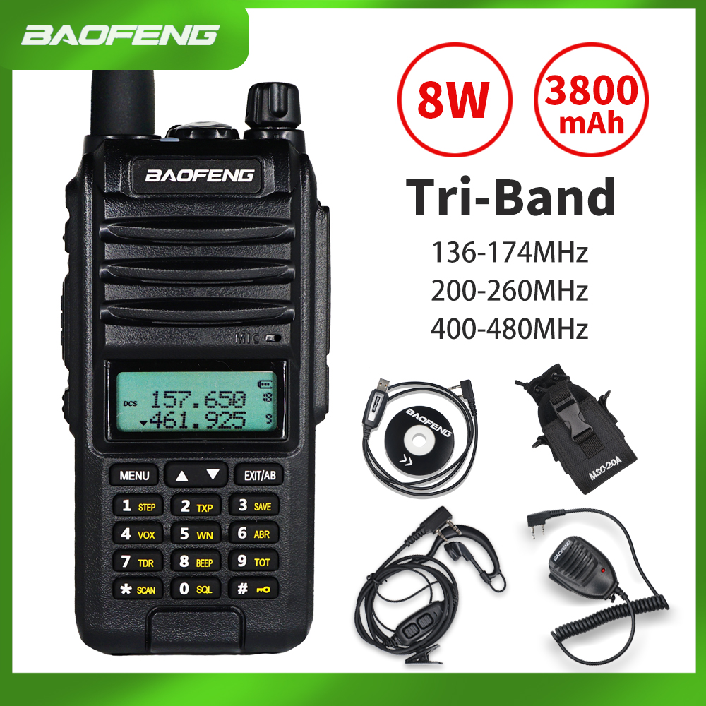 2020 BaoFeng A58S Tri-Band 8W Walkie Talkie 3800mAh Portable CB Ham Radio 10KM FM Transceiver Upgrade UV-82 Two Way Radio UV82