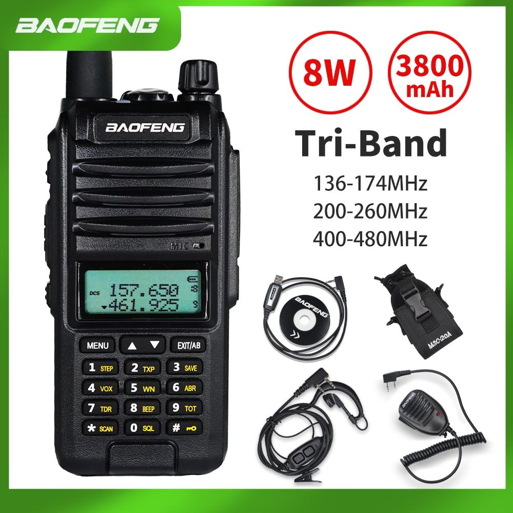 2020 BaoFeng A58S Tri-Band 8W Walkie Talkie 3800mAh Portable CB Ham Radio 10KM FM Transceiver Upgrade UV-82hp Two Way Radio UV82