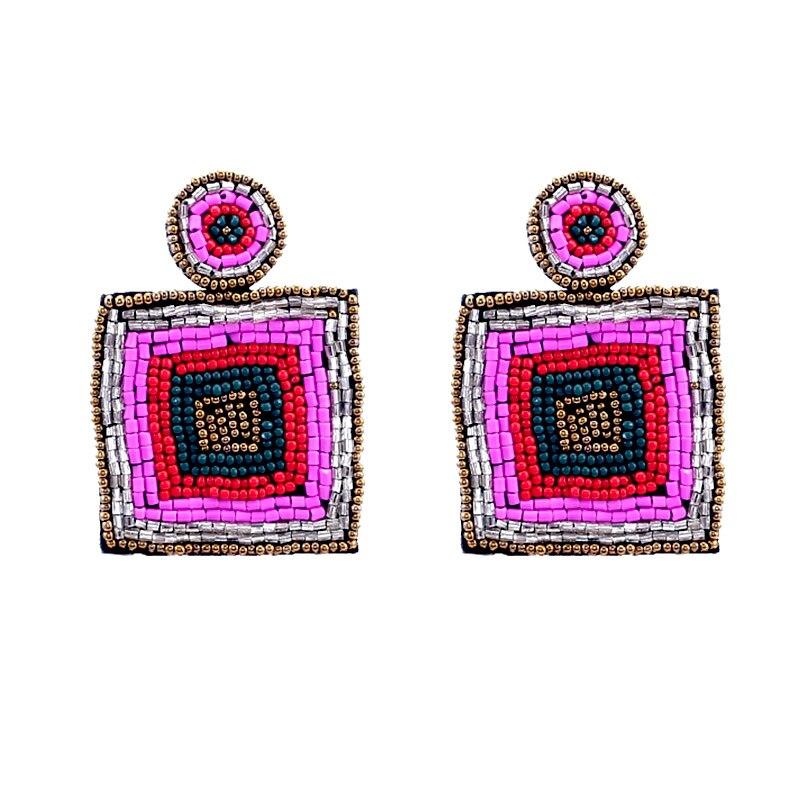 Bohemian Handmade Beaded Long Tassel Earrings For Women Multicolor Beads Statement Dangle Earrings Ethnic Jewelry (2)