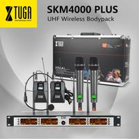 XTUGA SKM4000 PLUS Professional 4*100 Channels UHF wireless microphone system With 2 Handheld&2 Bodypack Metal Built, Selectable
