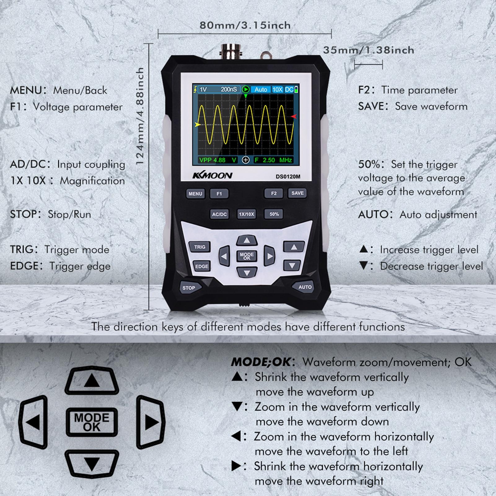 KKmoon Digitales Oszilloskop 120 MHz Bandbreite 500 MSa//s DS0120M 320x240 High Definition 2,4-Zoll-TFT-Farbbildschirm Sampling Rate Professional Tool mit Wellenformspeicher Hintergrundbeleuchtung