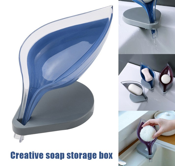 Bathroom Decor Leaf Shape Hollow Soap Holder Drainage Storage Holder Container LXY9