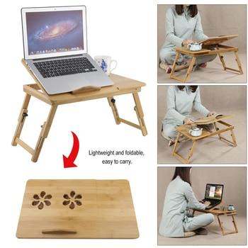 Mesa de ordenador portátil plegable clásica, ajustable, de bambú, escritorio, ordenador portátil,...