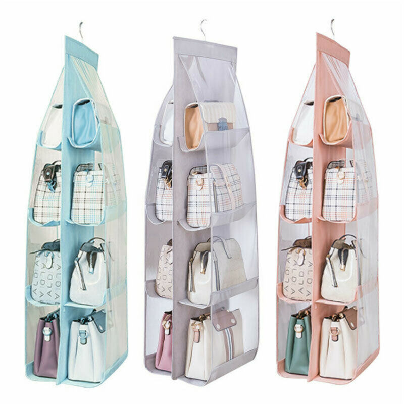 6 / 8 Pockets Hanging Closet Organizer Storage Bag Clear Foldable Double Sides Home Use Clothing Handbag Storage Bag