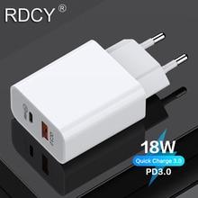 RDCY 18W PD 3.0 2 Cổng Sạc Nhanh Quick Charge 3.0 Sạc Cho iPhone Samsung Xiaomi QC 3.0 nhanh Sạc Điện Thoại