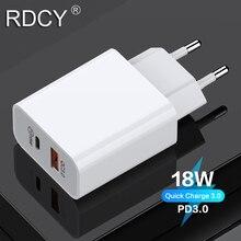 RDCY 18W PD şarj cihazı 3.0 çift bağlantı noktalı hızlı şarj 3.0 cep telefonu şarj cihazı iPhone Samsung xiaomi için QC 3.0 hızlı telefon şarj