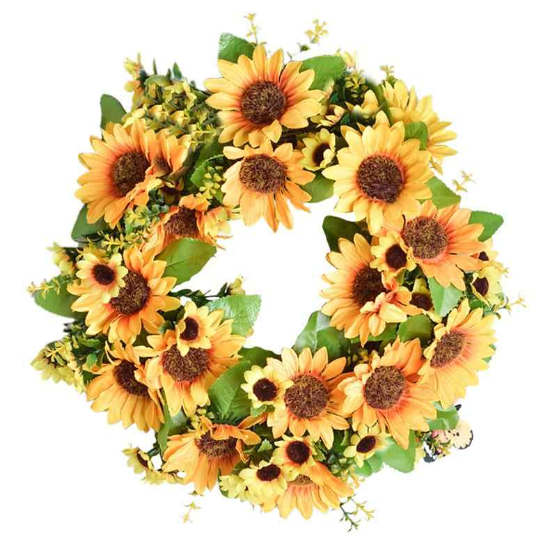 BESTOYARD Sunflower Garland Artificial Fake Flower Wreath Door Ornaments Wall Decoration Photo Accessories