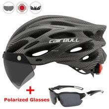 Casco de seguridad en ciclismo ultraligero para exteriores, luz trasera para motocicleta, visera de lente extraíble, Casco de Bicicleta de carretera de montaña