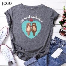 JCGO Women Summer T-Shirt Cotton Plus Size S-5XL O-Neck Cart
