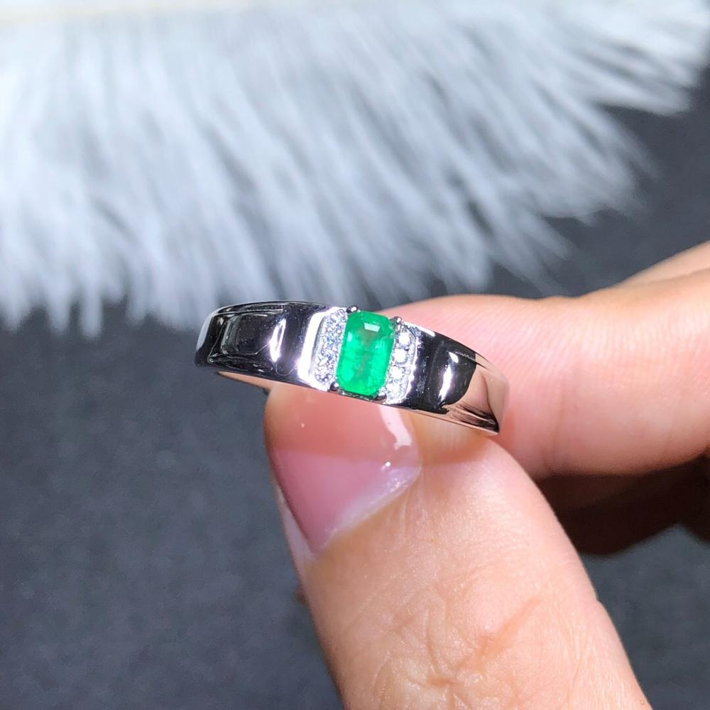 925 silver inlaid natural emerald ring of Columbia mens size 3 * 5 mm refers to the adjustable