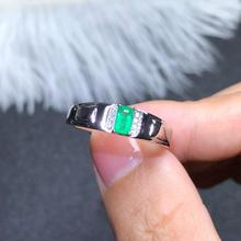 925 silver inlaid natural emerald ring of Columbia men's ring size 3 * 5 mm refers to the ring size adjustable 925 silver ring bocai silver 925 silver butterfly ring gently move as the moment flew into your eyes