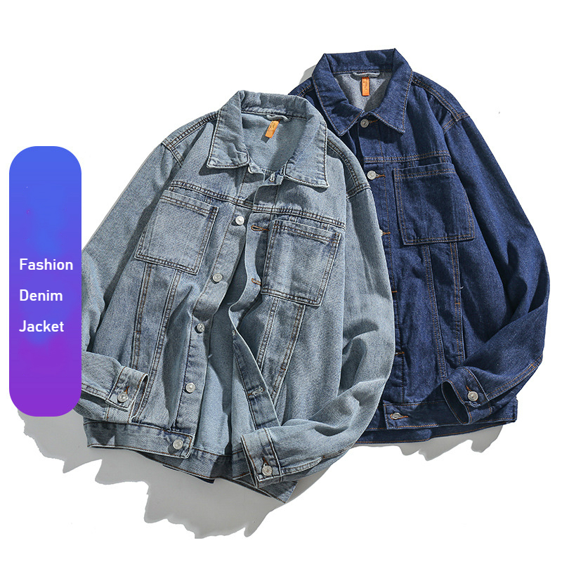 Autumn Winter New Arrival Denim Jacket Men Long Sleeve Light Blue Denim Coat Boys Fashion Streetwear Oversized Jacket Male Xxxl