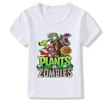 лучшая цена Game Plants Vs Zombies T-shirts Kids Summer Top Girls Boys Casual Round Neck Clothing Children T shirt Camiseta Tees Girls Tops