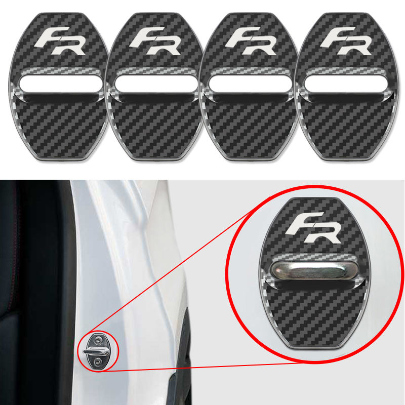 Car Styling Auto 4pcs Carbon fiber pattern Door Lock Cover Badge Case For Seat FR  leon ibiza cupra Altea Alhambra Accessories