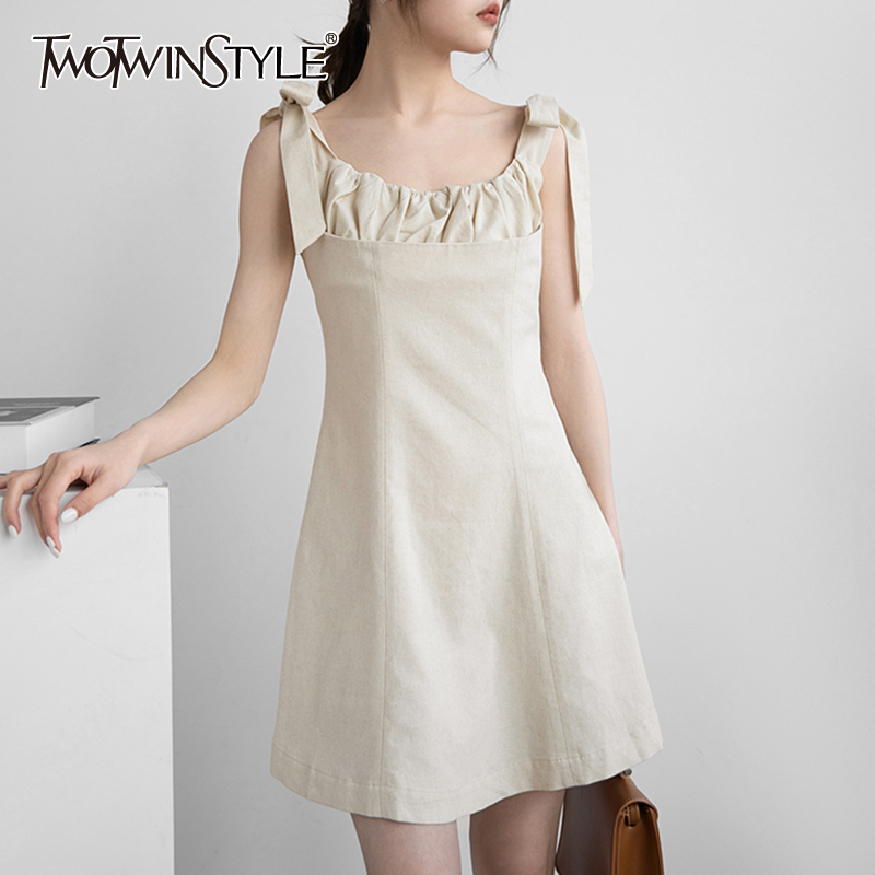 TWOTWINSTYLE Elegant Summer Dress Women O Neck Sleeveless Apsghetti Strap Lace Up Bownot High Waist Mini Dresses Female 2020 New