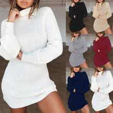 Платье Осень-зима, женские вязаные свитера, пуловеры, водолазка, платье, длинное, однотонное, тонкое, эластичное, длинный свитер, платье, джемпер@ 45