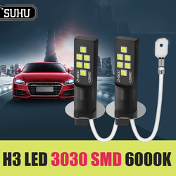 SUHU 2Pcs H3 LED Bulb 3030 SMD 6000K White Car Fog Light High Bright Driving Lamp Super Bright LED Auto Car Fog Headlight Bulbs