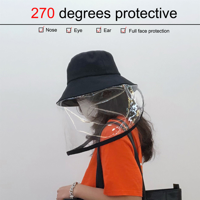 Protective Cap Coronary Flu Protective Hat Anti-spitting Hat Anti-saliva Cap Cat With Clear Mask Removable Baseball Hat New 3