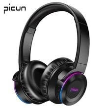 Picun B9 LED ışık kablosuz Bluetooth kulaklıklar Hifi bas Stereo kulaklık mikrofon kulaklık desteği TF kart TV PC için cep telefonu